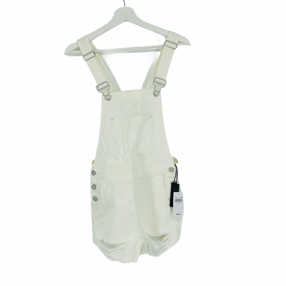 BlankNYC White Overall Distressed Shorts - I114